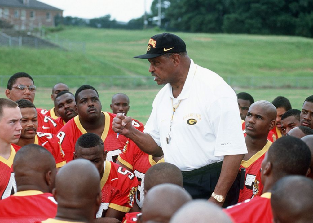 A head coach at Grambling State University talks with his rteam