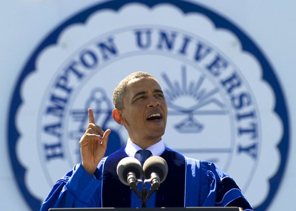 US President Barack Obama receives the honorary degree of Doctor of Laws at Hampton University