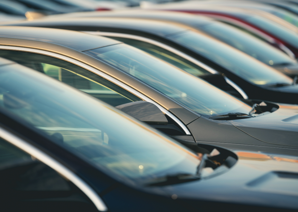 Photo of car windshields in a line