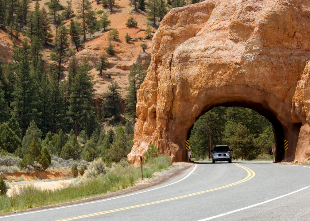 Photo of a road running through a rock tunnel
