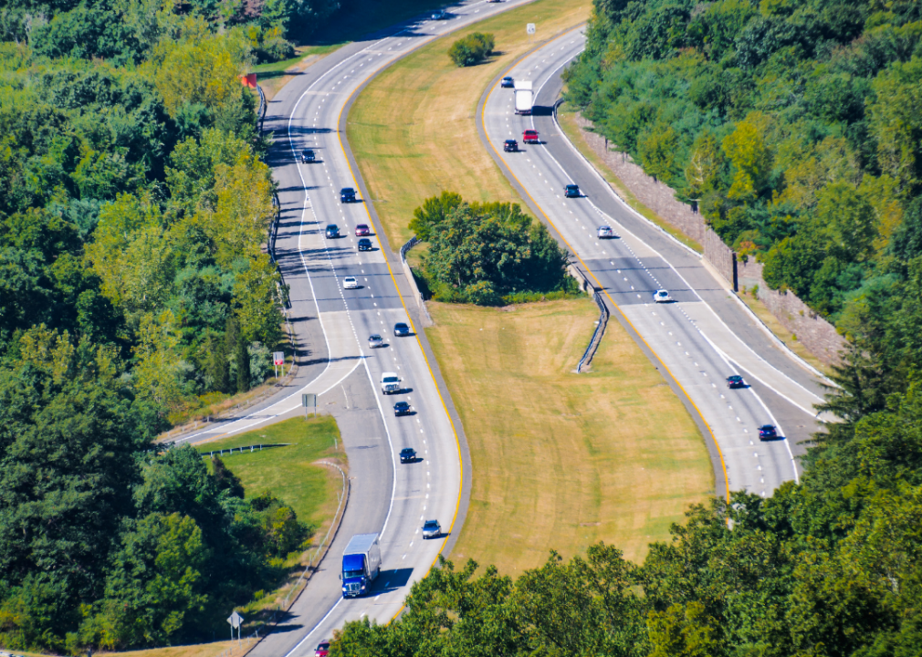 Photo of a large highway from a distance