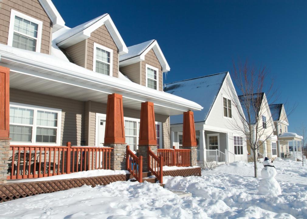 Minnesota, snowy lawn of a suburban home