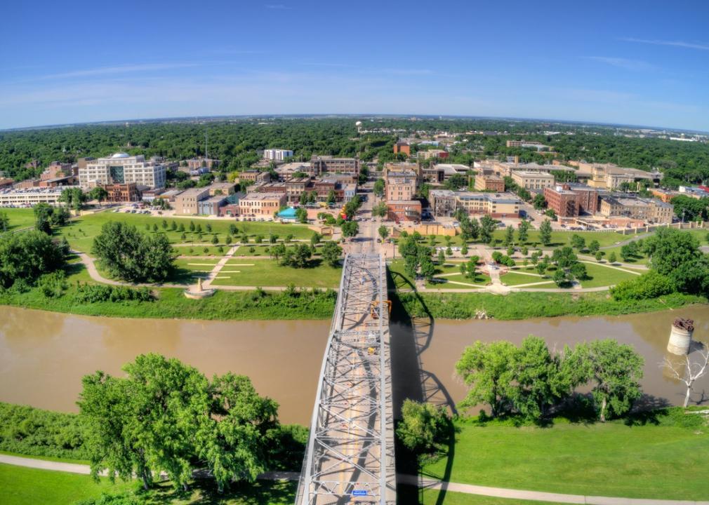 North Dakota, bridge to a town