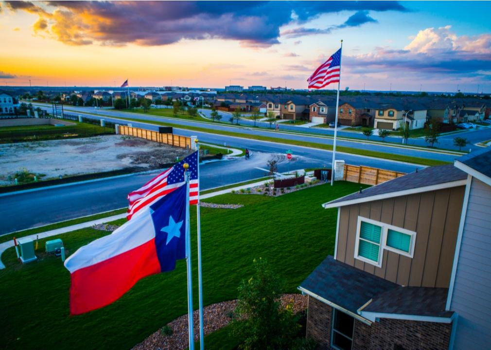Texas, lawn with flags