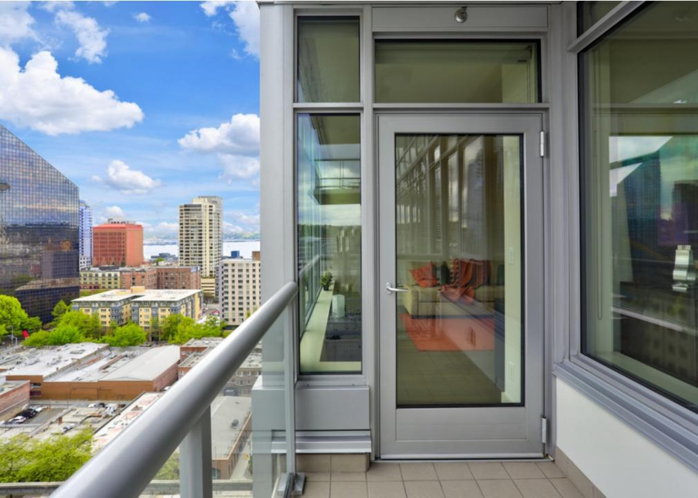 Washington, Seattle apartment balcony