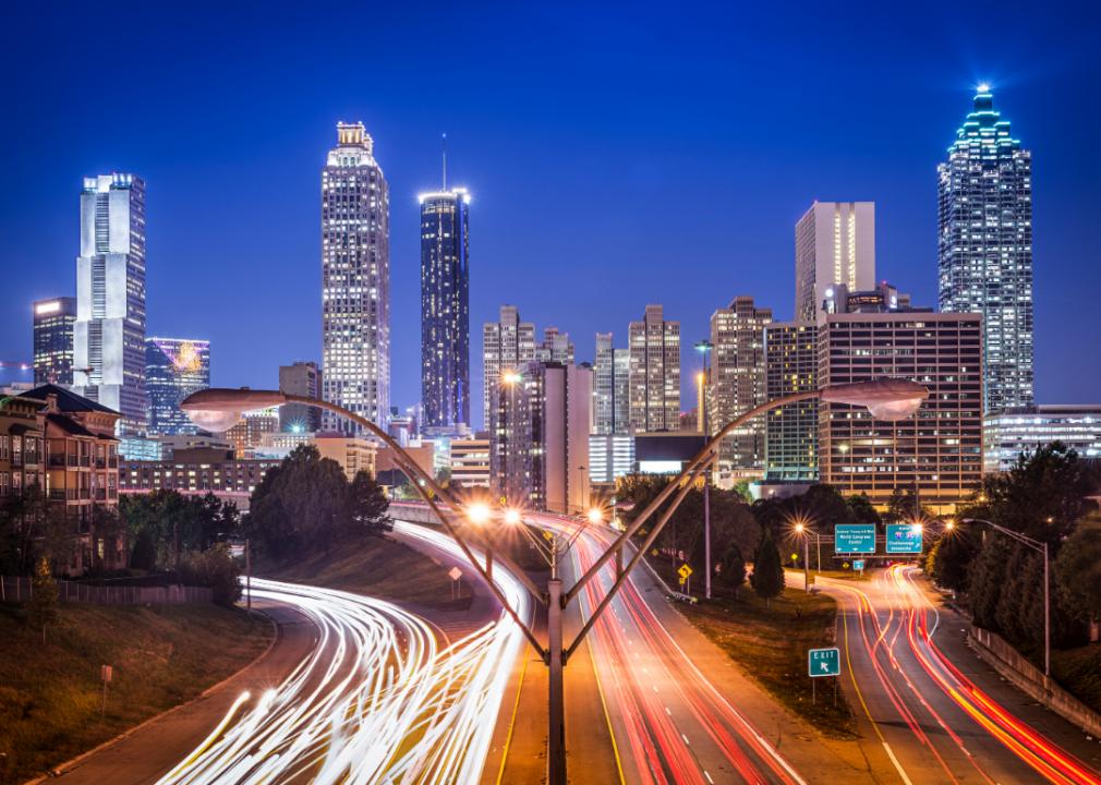 Photo of city skyline at night