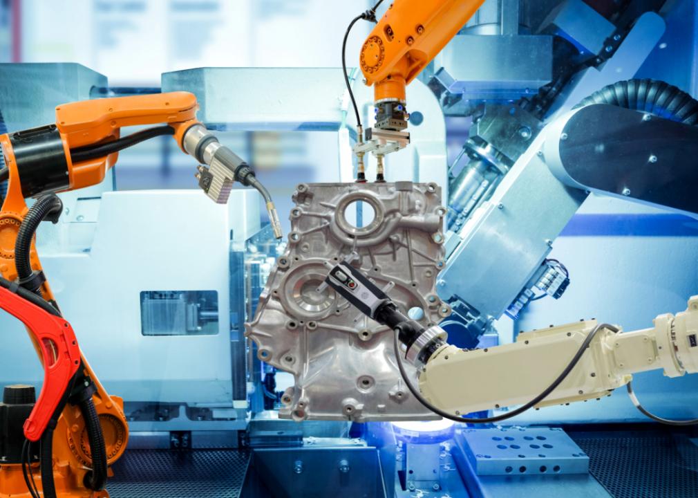 Photo of robots assembling car parts