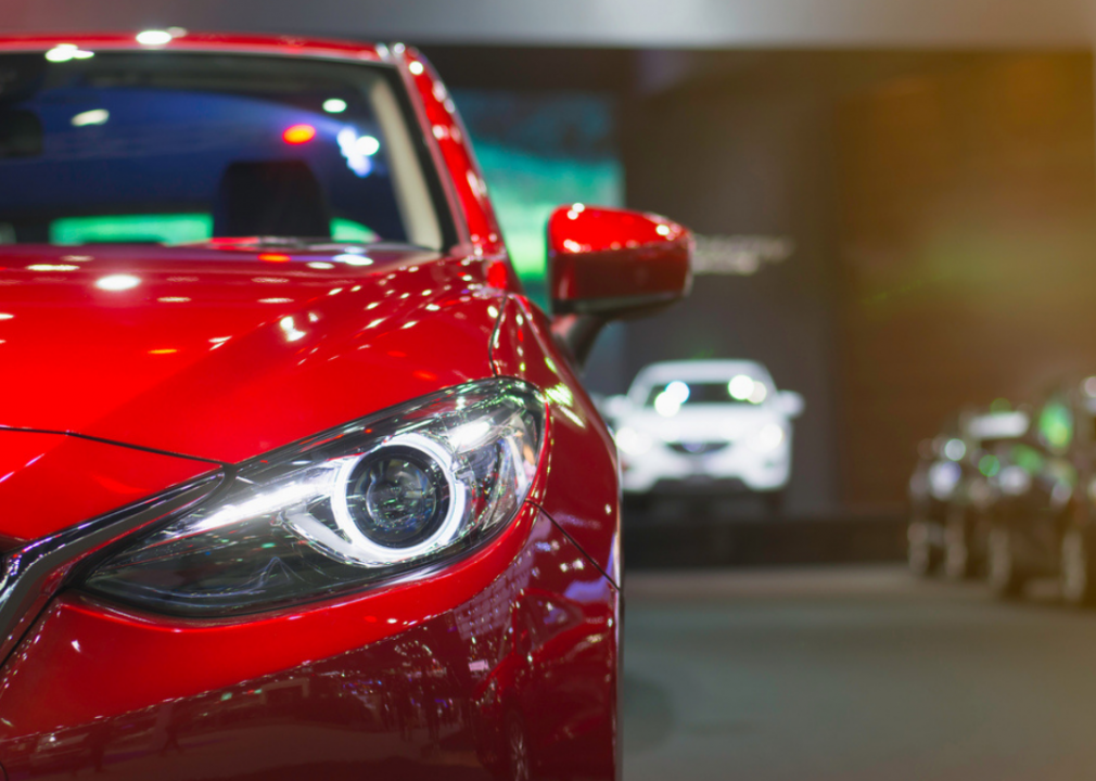 Close-up photo of car headlight