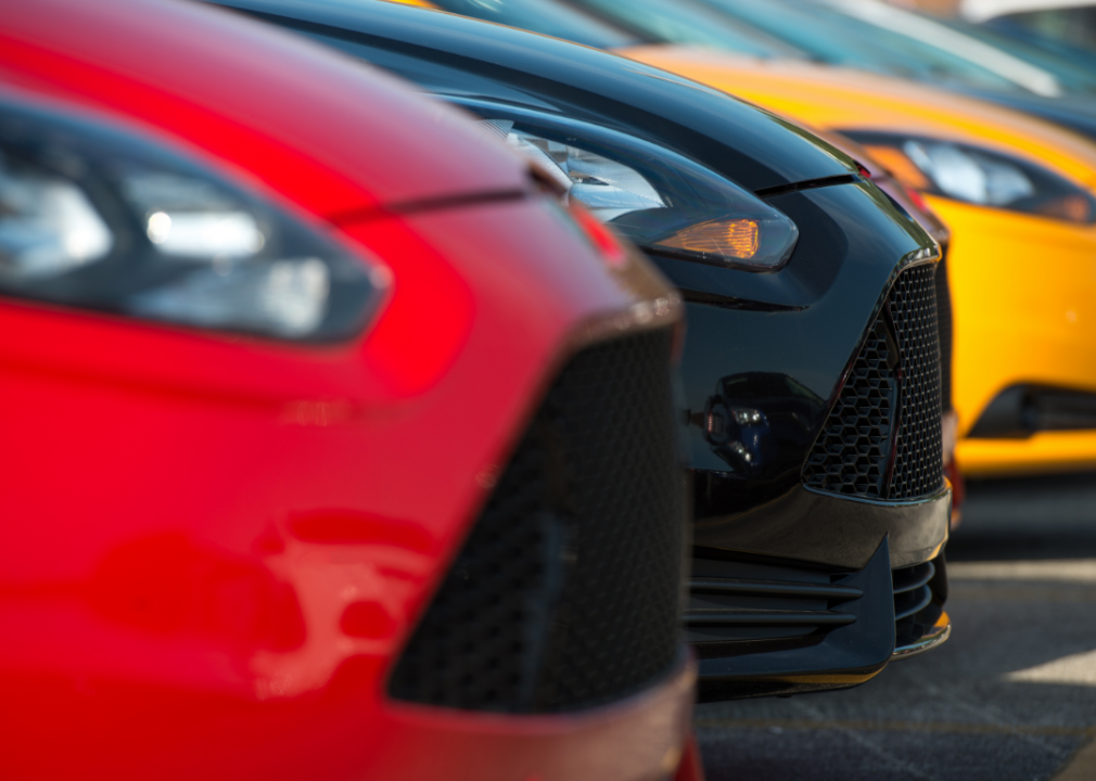 Photo of car fronts in a line