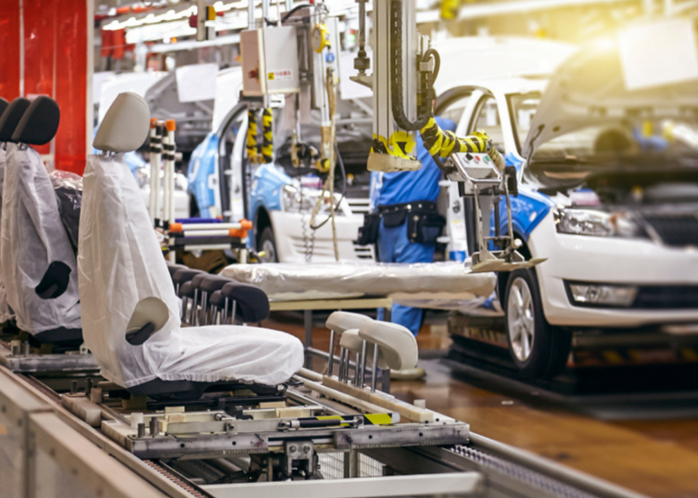 Photo of cars being assembled in a plant