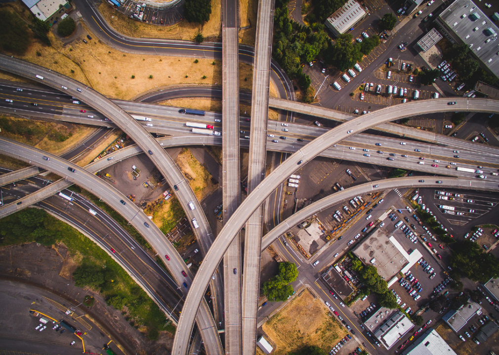 High-angle photo of overlapping overpasses and roadways