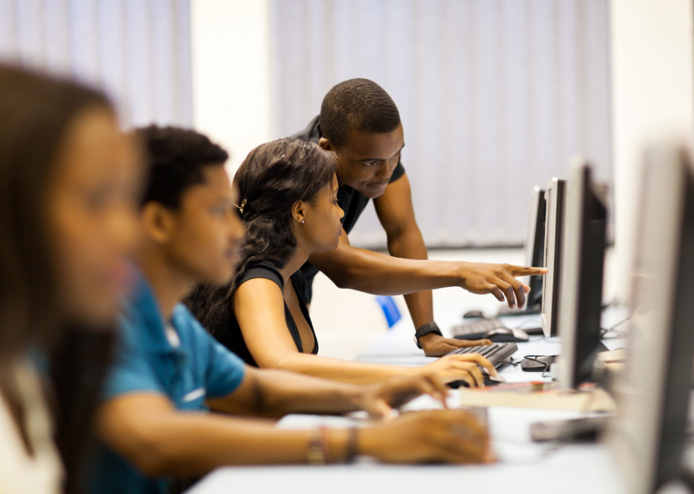 College students in a classroom work on computers