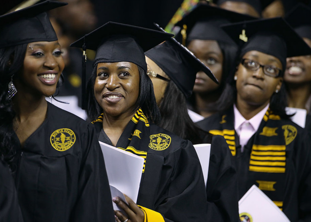 Graduates of Bowie State University arrive for the school's graduation ceremony
