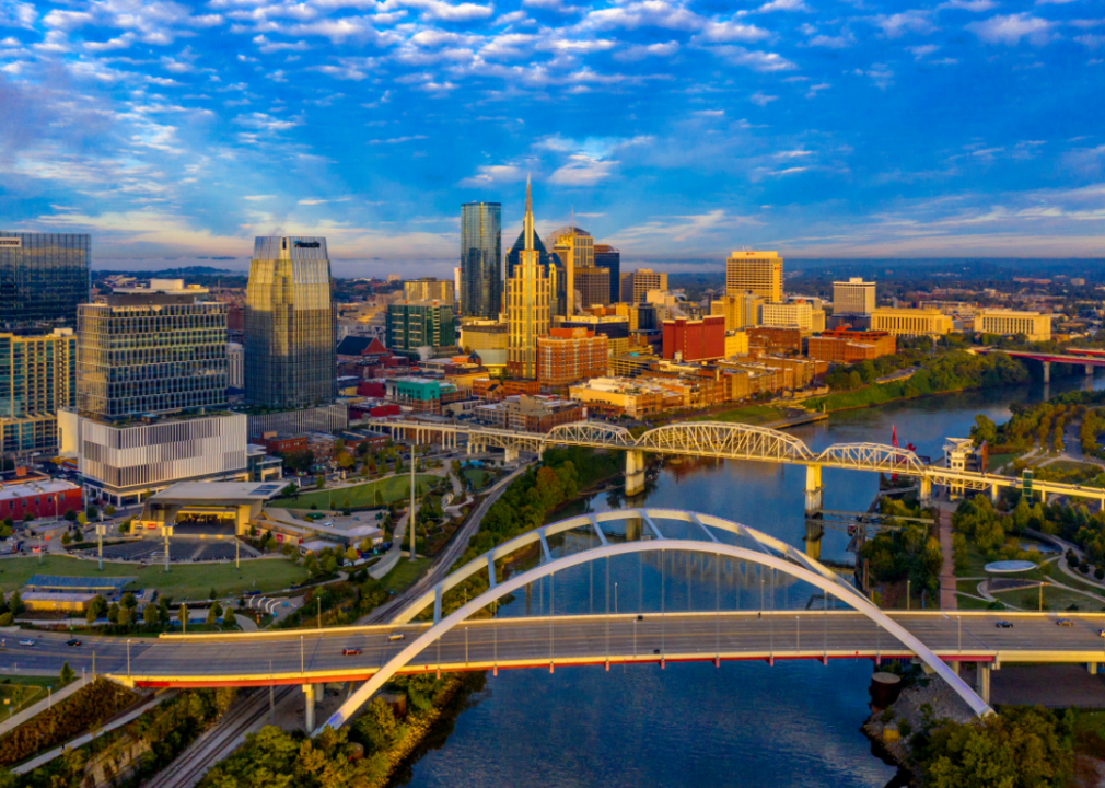 Aerial view of Nashville, TN at sunrise