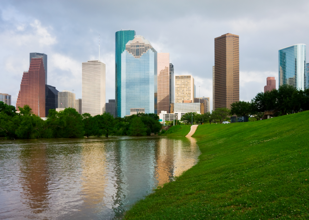 A view of the Houston skyline from a park